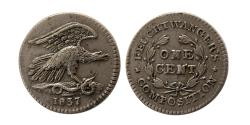 World Coins - UNITED STATES. 1837. German Silver One Cent. Feuchtwanger's Composition.