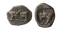 Ancient Coins - CARIA, Uncertain. Ca. 500-400 BC. AR Diobol. Rare.