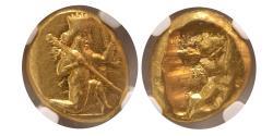 Ancient Coins - ACHAEMENID EMPIRE. temp. Dareios I-Xerxes II. Circa 485-420 BC. AV Daric. NGC-MS. Fully Lustrous