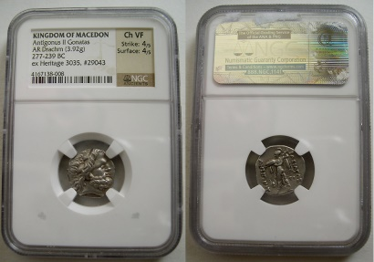 Ancient Coins - KINGS of MACEDON. Antigonos II Gonatas. 277-239 BC. AR Drachm. Amphipolis.  NGC-VF. Scarce.