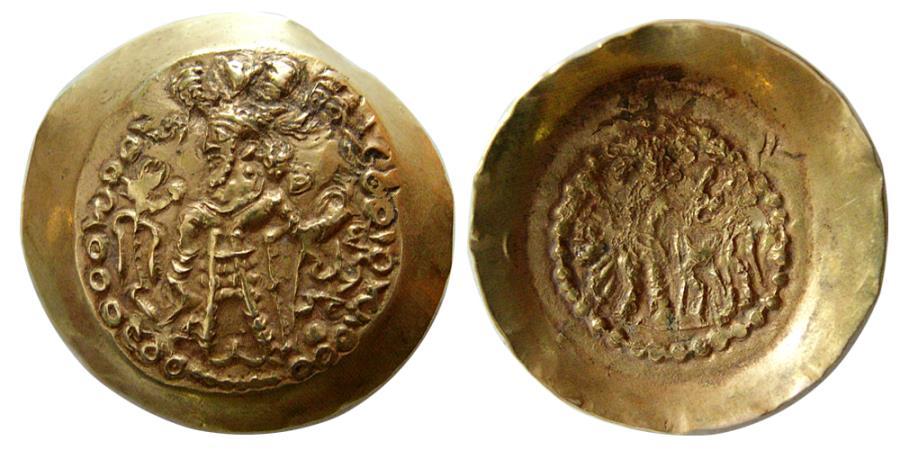 """Ancient Coins - SASANIAN KINGS of INDIA. """"Varahran"""" (Kidara). After 350 AD. AV Dinar."""