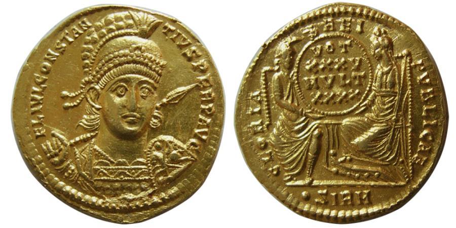 Ancient Coins - ROMAN EMPIRE. Constantius II. AD. 337-361. Gold Solidus. Sirmium mint,