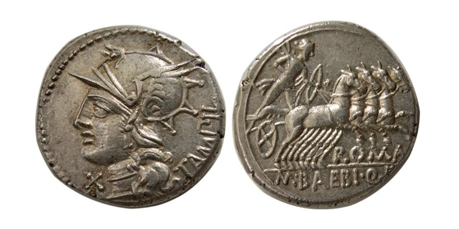 Ancient Coins - ROMAN REPUBLIC. M. Baebius Tampilus. 137 BC. AR Denarius.