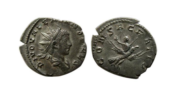 Ancient Coins - ROMAN EMPIRE. Valerian II. 253-255 AD. AR Antoninianus. Scarce !