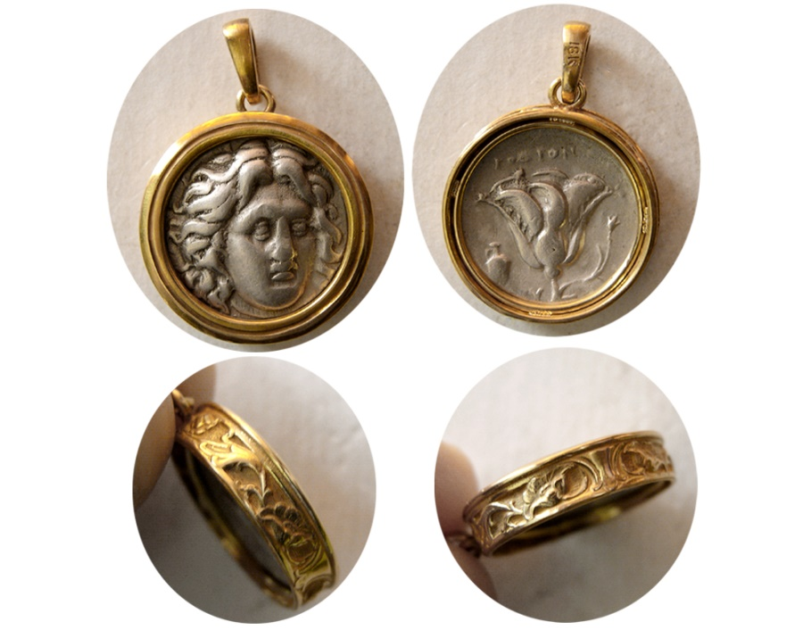 Ancient Coins - CARIA, Islands off. Rhodes. Circa 304-275 BC. AR Drachm. Set in a Custom-made 18K. Gold Pendent.