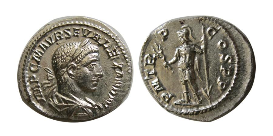 Ancient Coins - ROMAN EMPIRE. Severus Alexander, as Agustus. 222-235 AD. AR Denarius. Choice FDC.