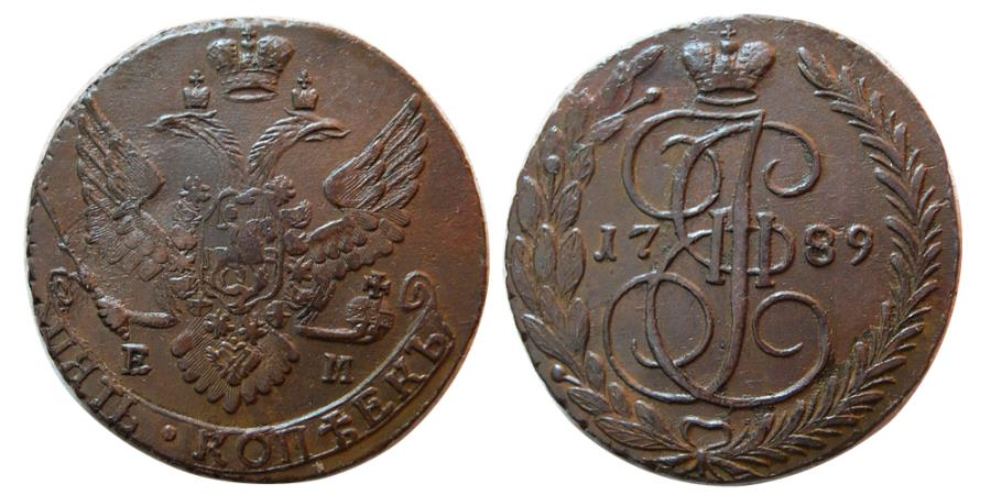"""World Coins - RUSSIA, Catherine II, """"the Great"""". 1762-1792. Æ 5 Kopecks. Dated 1789."""