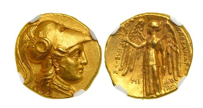Ancient Coins - SELEUKID KINGDOM; Seleukos I, Nikator, as satrap, 312-280 BC. Gold Stater. NGC- Choice AU*.
