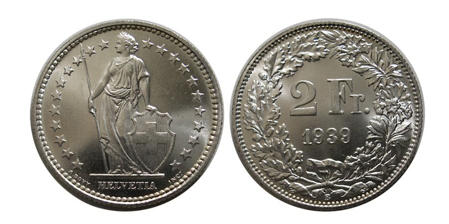 World Coins - SWITZERLAND. 1939.  Silver 2 Franc.
