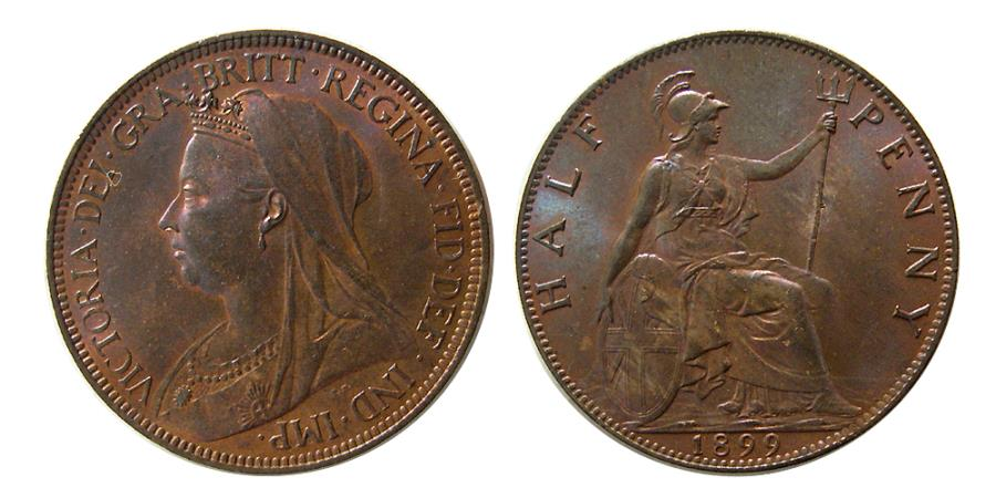 World Coins - GREAT BRITAIN; Queen Victoria. 1837-1901. Half Penny. dated 1899.