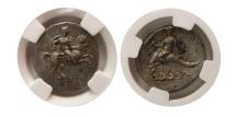 Ancient Coins - CALABRIA, Taras. Ca. 281-240 BC. Silver Didrachm. NGC AU.