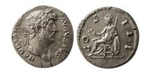 "Ancient Coins - ROMAN EMPIRE. Hadrian. 117-138 AD. AR Denarius. Lovely style. ""Almost as Struck""."