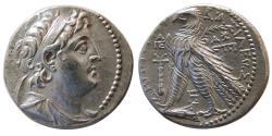 Ancient Coins - SELEUKID KINGS, Demetrios II Nikator. 129-125 BC. AR Tetradrachm. 2nd reign. Tyre, dated SE 186