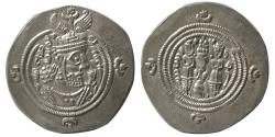 Ancient Coins - SASANIAN KINGS. Khosrau II. AD. 590-628. AR Drachm.  MI (Mishan) mint, year 36.