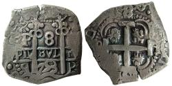Ancient Coins - SPAIN, Ferdinand VI. 1753-Q. AR 8 Reales. Potosi. 2 full dates. Lovely strike.