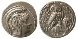 Ancient Coins - ATTICA, Athens. Ca. 98-97 BC. AR Tetradrachm. New Style Coinage. Magistrate: Dionysos.