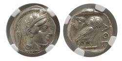 Ancient Coins - ATTICA, Athens. 440-404 BC. AR Tetradrachm. Full crest. Wonderful strike. NGC-AU*.