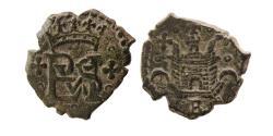 World Coins - SPAIN. Felipe II. 1556-1598. Æ Burgos Blanca. Lovely Strike.