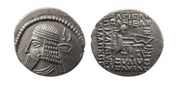 Ancient Coins - KINGS of PARTHIA. Vologases I. second reign, ca. AD 58-77Silver Drachm.
