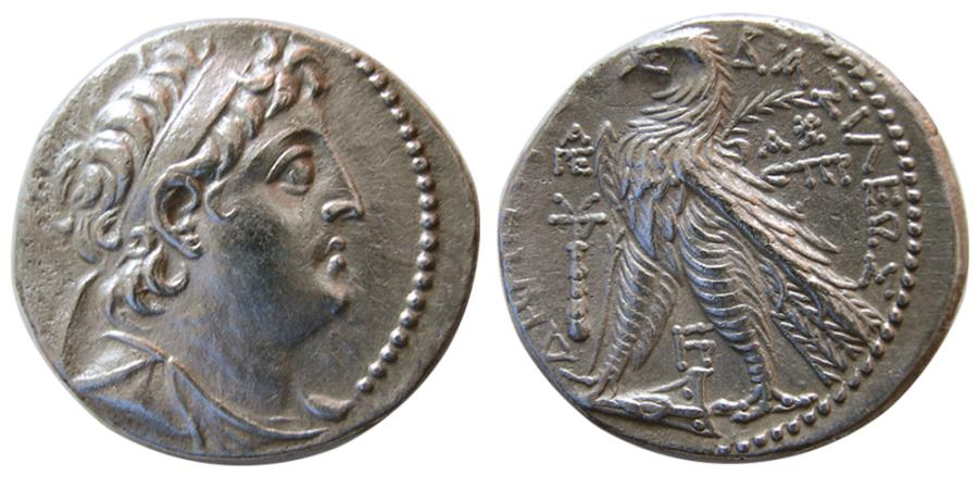 Ancient Coins - SELEUKID KINGS, Demetrios II Nikator. 129-125 BC. AR Tetradrachm. 2nd reign. Tyre, dated SE 186