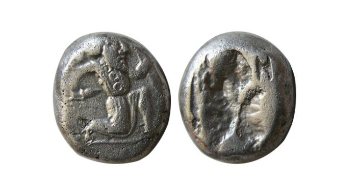 Ancient Coins - ACHAEMENID EMPIRE. Circa 420-375 BC. AR Siglos with countermark.