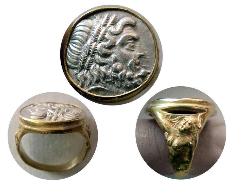 Ancient Coins - EPIROS. 234-168 BC. Silver Drachm. Set in a Custom-made 18K. Gold Ring. Ring Size 9 1/2.