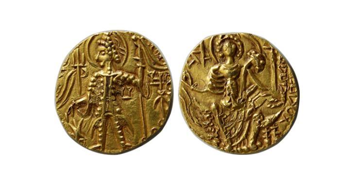 World Coins - KUSHAN KINGS of INDIA. Vasudeva II. Circa 290-310 AD. AV Dinar