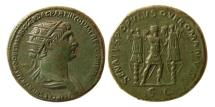 Ancient Coins - ROMAN EMPIRE. Trajan. AD 98-117. Æ Dupondius.