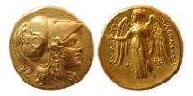 Ancient Coins - KINGS of MACEDON, Alexander III. 336-323 BC. Gold Solidus. Struck under Seleukos. Nice style.