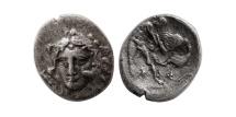 Ancient Coins - CALABRIA. Tarentum. Ca. 325-280 BC. AR diobol.  Heracles strangling the Nemean lion. Rare.
