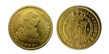Ancient Coins - SPAIN. Carlos III. 1759-1788. Gold 2 Escudo. 1777 Madrid mint.  Lovely example.