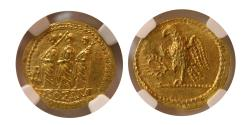 Ancient Coins - THRACE, Dynasts of Koson. after 54 BC. Gold Stater. NGC-Choice MS. Finest quality for the issue.