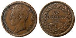 World Coins - MONACO. 1838. 1 Decime. HONORE IV. MONACO. C. AE. (Golpes).