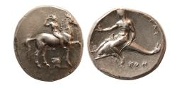 Ancient Coins - APULIA, Tarentum. Circa 332-302 BC. Silver Nomos. Lovely strike. Choice Superb EF.