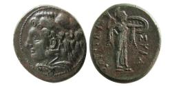 Ancient Coins - SICILY, Syracuse. Pyrrhos. 278-276 BC. Æ 24mm. Lovely strike.