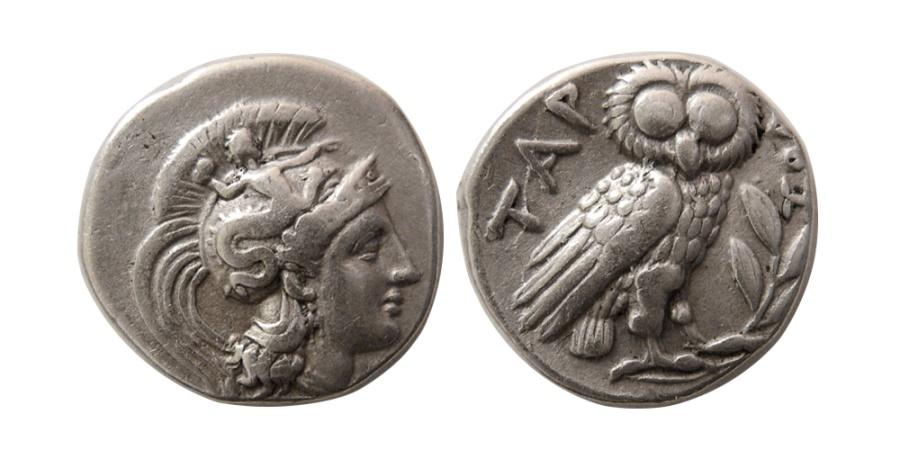Ancient Coins - CALABRIA, Tarentum. Circa 302-280 BC. AR Drachm.