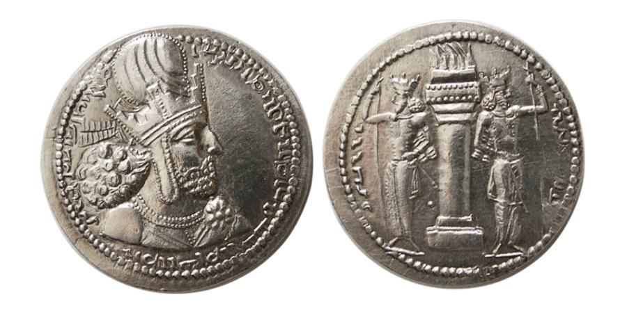 Ancient Coins - SASANIAN KINGS. Shahpur I. 240-272 AD. AR Drachm. Scarcer issue.
