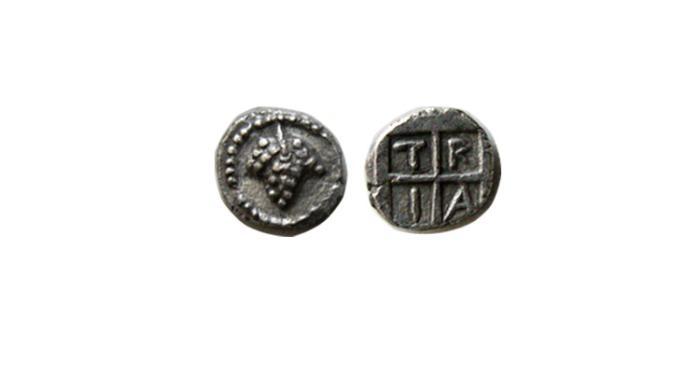 Ancient Coins - STRYMONIAN & BOTTIAEAN Districts. Tragilus. 5th century BC. AR Hemiobol