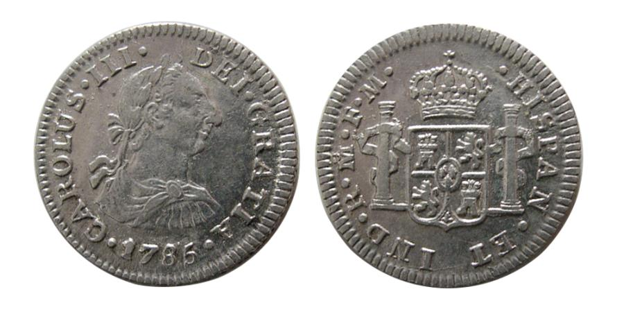 World Coins - SPAINISH COLONIAL. Mexico. Carlos III. 1759-1808. AR ½ Reale. 1785, FM.