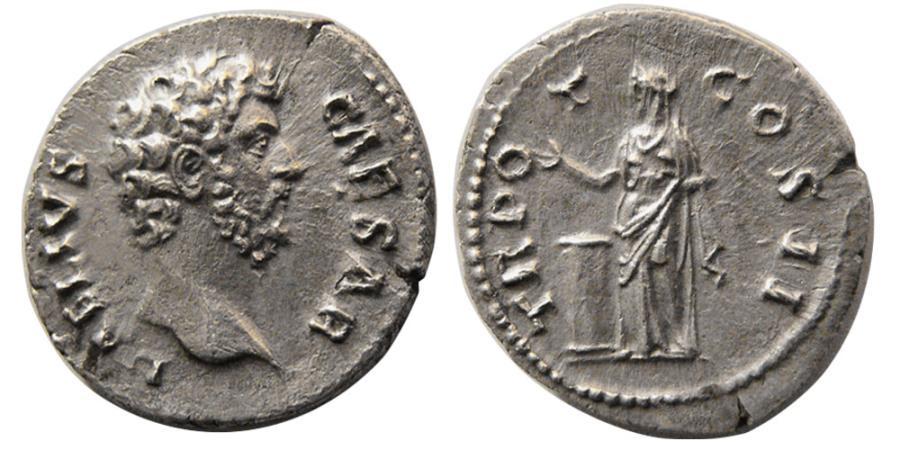 Ancient Coins - ROMAN EMPIRE. Aelius, Caesar. 136-138 AD. AR Denarius. Elegant Style.