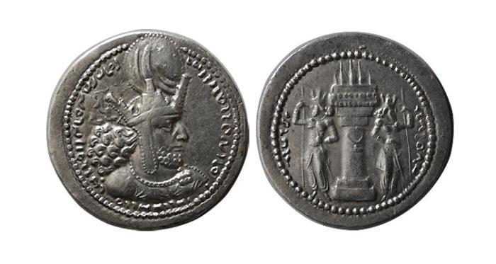 Ancient Coins - SASANIAN KINGS. Shahpur I.  240-272 AD. AR Drachm