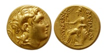 KINGS of THRACE. Lysimachos. 305-281 BC. Gold Stater. Lifetime issue. Lovely style. Lustrous.