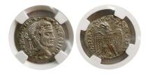 SYRIA, Antioch. Macrinus. AD. 217-218. BL Tetradrachm. Laodicea ad Mare. NGC MS.