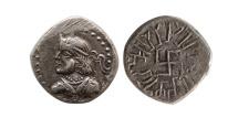 Ancient Coins - INDO-SKYTHIANS; Paratarajas. Kozana. Circa AD 220-200. AR Hemidrachm. Rare.