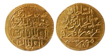 World Coins - TURKEY, OTTOMAN EMPIRE. Abd al Hamid I. 1187-1203 AH. Gold Zeri-Mahbub. Misr, 1187 AH.