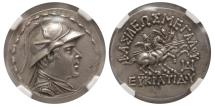Ancient Coins - KINGDOM of BACTRIA. Eucratides I. 170-145 BC. Silver Tetradrachm.  NGC-AU. (Strike 5/5; Surface 4/5).