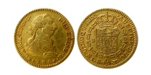 SPAIN. Carlos (Charles) III. 1759-1788. Gold 2 Escudos .  1788-M. Madrid mint.