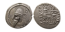 Ancient Coins - PARTHIAN EMPIRE. Vologases VI. 212-224/7 AD. AR Drachm. Ekbatana mint. Choice Superb EF.