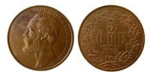 World Coins - SWEDEN, Oscar II. 1872-1907. 5 Ore. Reform Coinage. 1873.