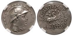 Ancient Coins - KINGDOM of BACTRIA. Eucratides I. 170-145 BC. Silver Tetradrachm.  NGC-AU. (Strike 5/5; Surface 4/5).